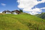 Chalet in de Alpen in de zomer