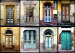 Collage met oude voordeuren