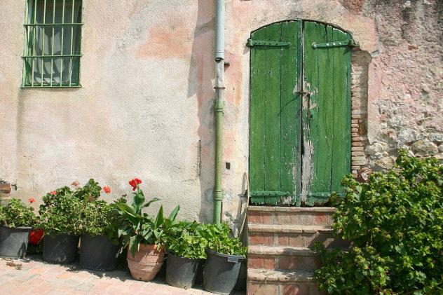 Huis met deur en  bloempotten frankrijk