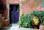 Potplanten voor een woning op het Griekse eiland Santorini