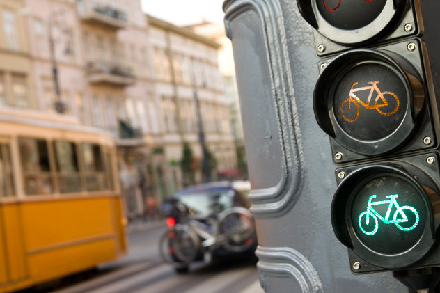 Centre of Budapest with a traffic light