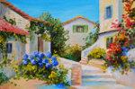 Oil painting mediterranean houses