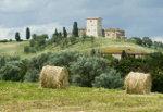Landschap met huizen Toscane