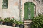 Groene deur met bloempotten