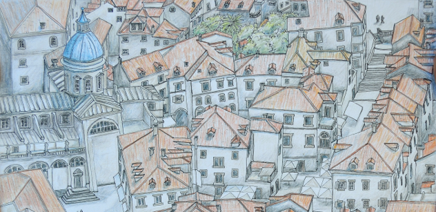 Graphic of old Dubrovnik