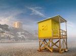 Strandwachtershuisje op het strand in Benidorm