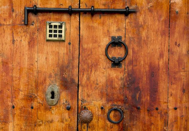 Oude houten deur Ibiza