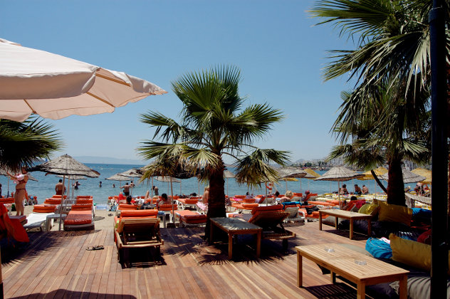 Beach hotel on the Aegean coast in Turkey